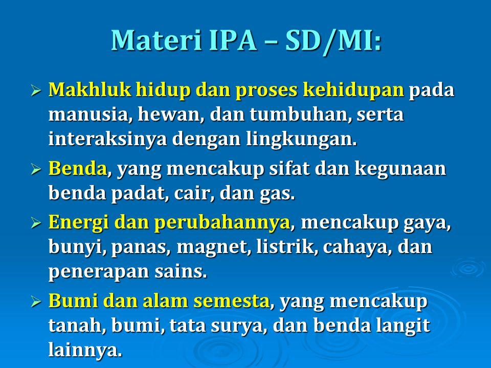 Materi IPA – SD/MI: Makhluk hidup dan proses kehidupan pada manusia, hewan, dan tumbuhan, serta interaksinya dengan lingkungan.