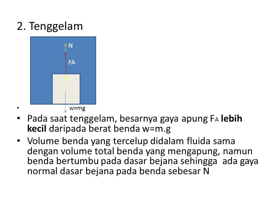 2. Tenggelam N. FA. w=mg. Pada saat tenggelam, besarnya gaya apung FA lebih kecil daripada berat benda w=m.g.