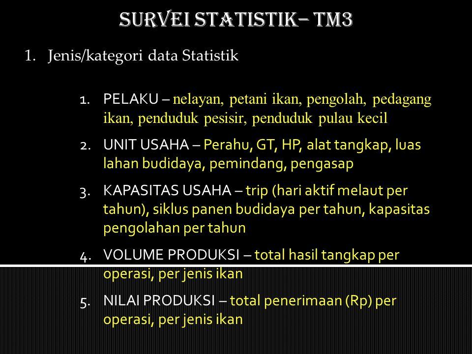 SURVEI STATISTIK– TM3 Jenis/kategori data Statistik