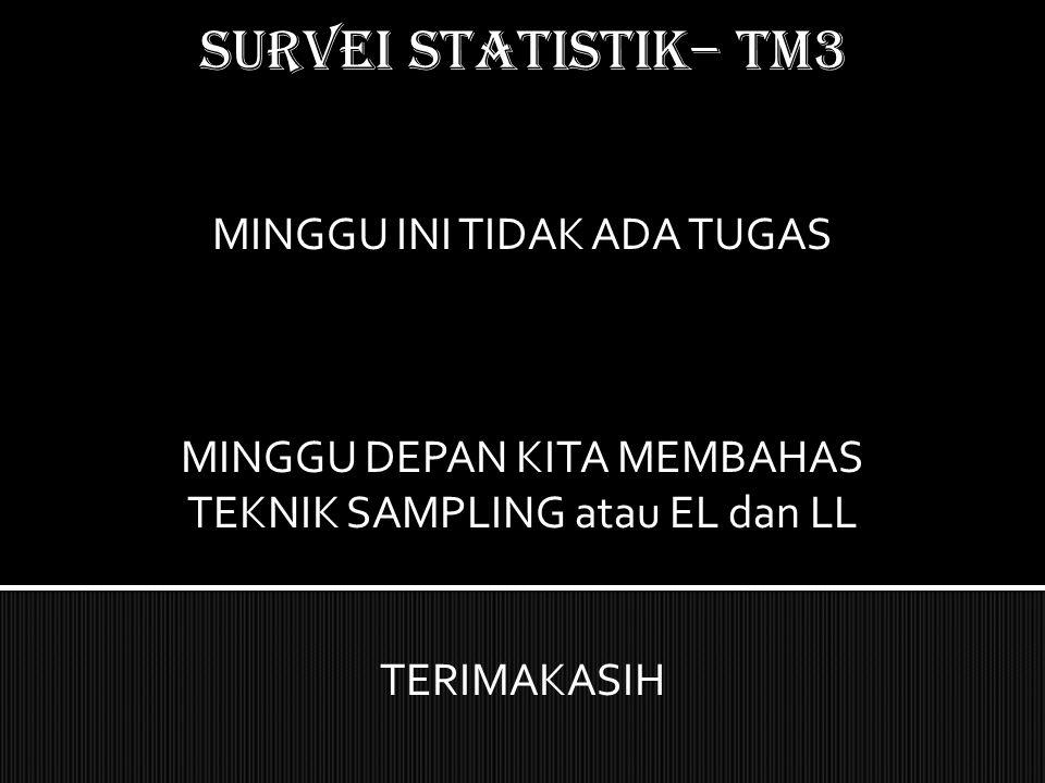 SURVEI STATISTIK– TM3 MINGGU INI TIDAK ADA TUGAS