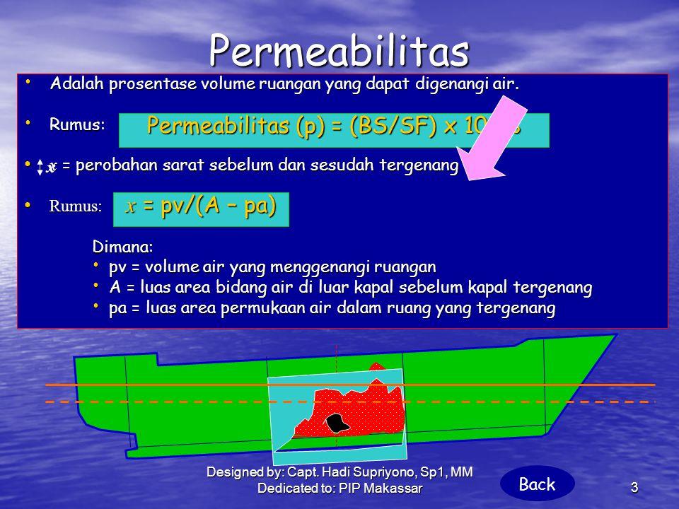 Permeabilitas Permeabilitas (p) = (BS/SF) x 100% x = pv/(A – pa)