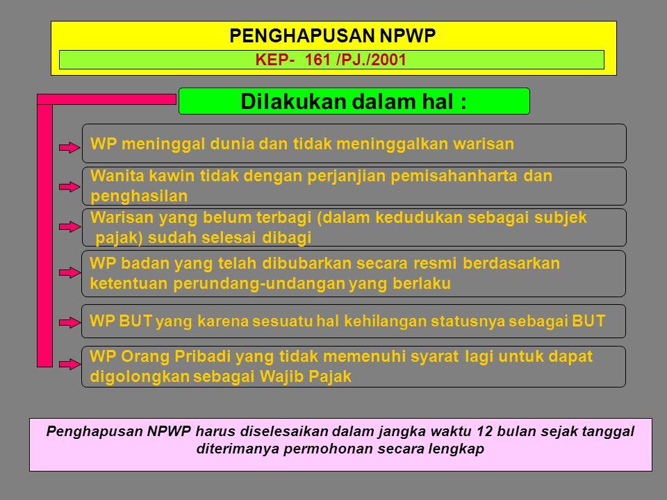 Dilakukan dalam hal : PENGHAPUSAN NPWP KEP- 161 /PJ./2001