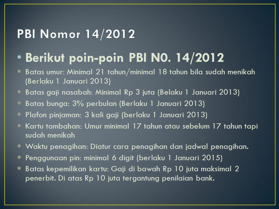 Berikut poin-poin PBI N0. 14/2012
