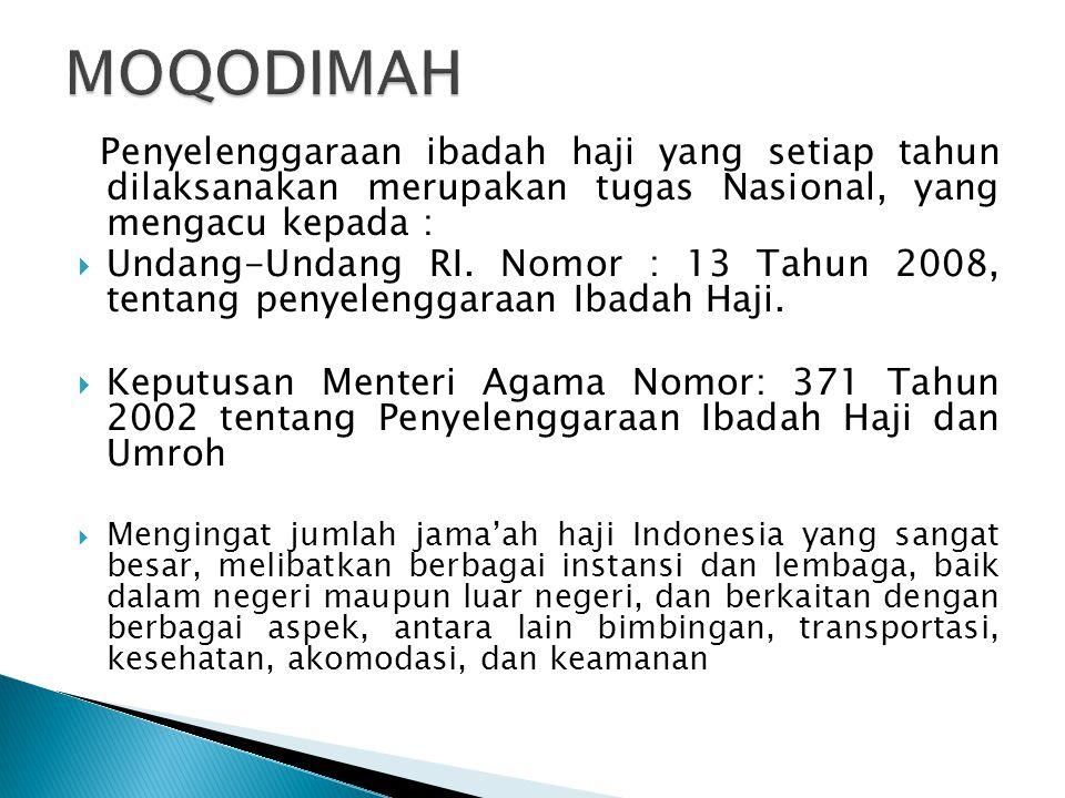 MOQODIMAH Penyelenggaraan ibadah haji yang setiap tahun dilaksanakan merupakan tugas Nasional, yang mengacu kepada :