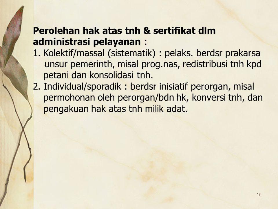 Perolehan hak atas tnh & sertifikat dlm