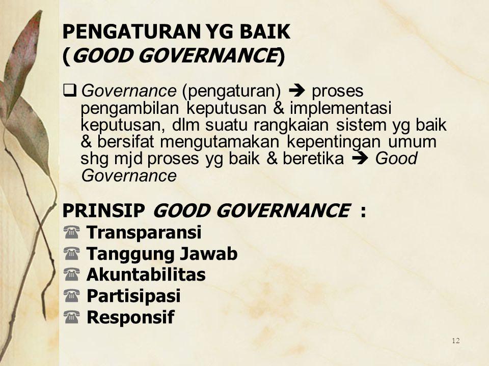 PENGATURAN YG BAIK (GOOD GOVERNANCE)