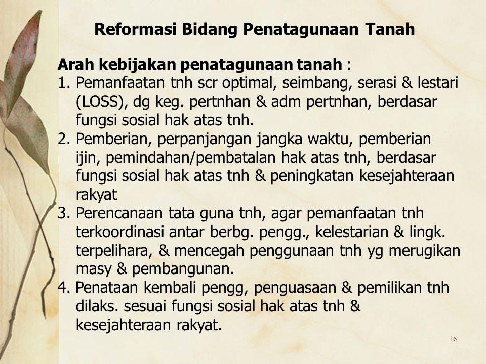 Reformasi Bidang Penatagunaan Tanah