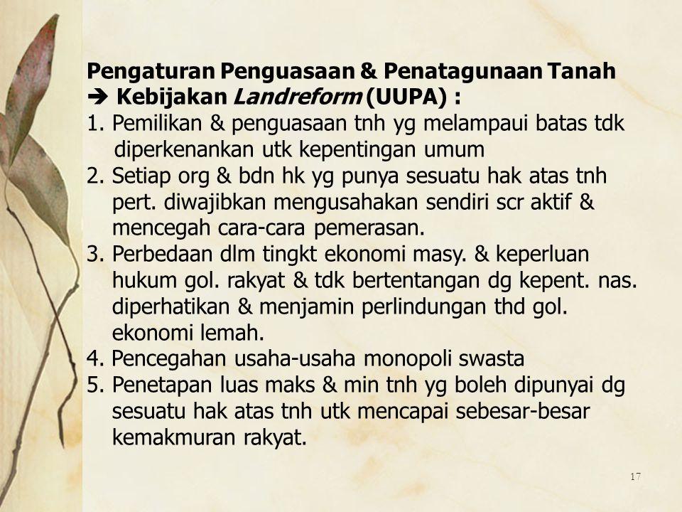 Pengaturan Penguasaan & Penatagunaan Tanah