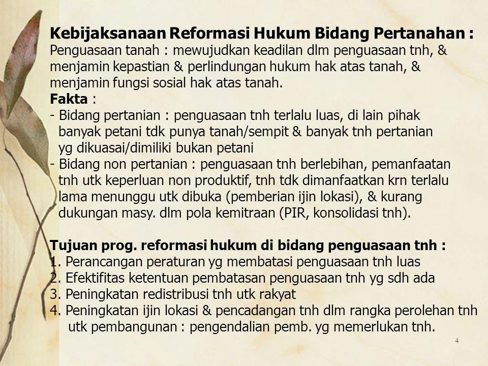 Kebijaksanaan Reformasi Hukum Bidang Pertanahan :