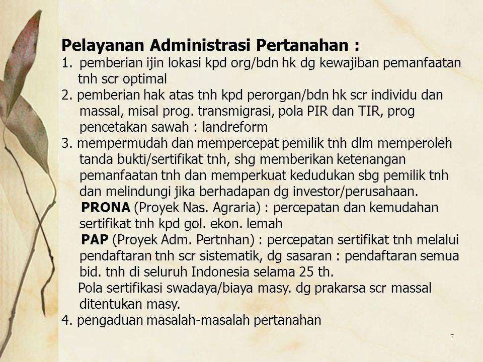Pelayanan Administrasi Pertanahan :