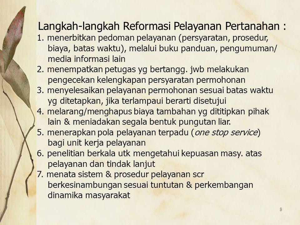Langkah-langkah Reformasi Pelayanan Pertanahan :