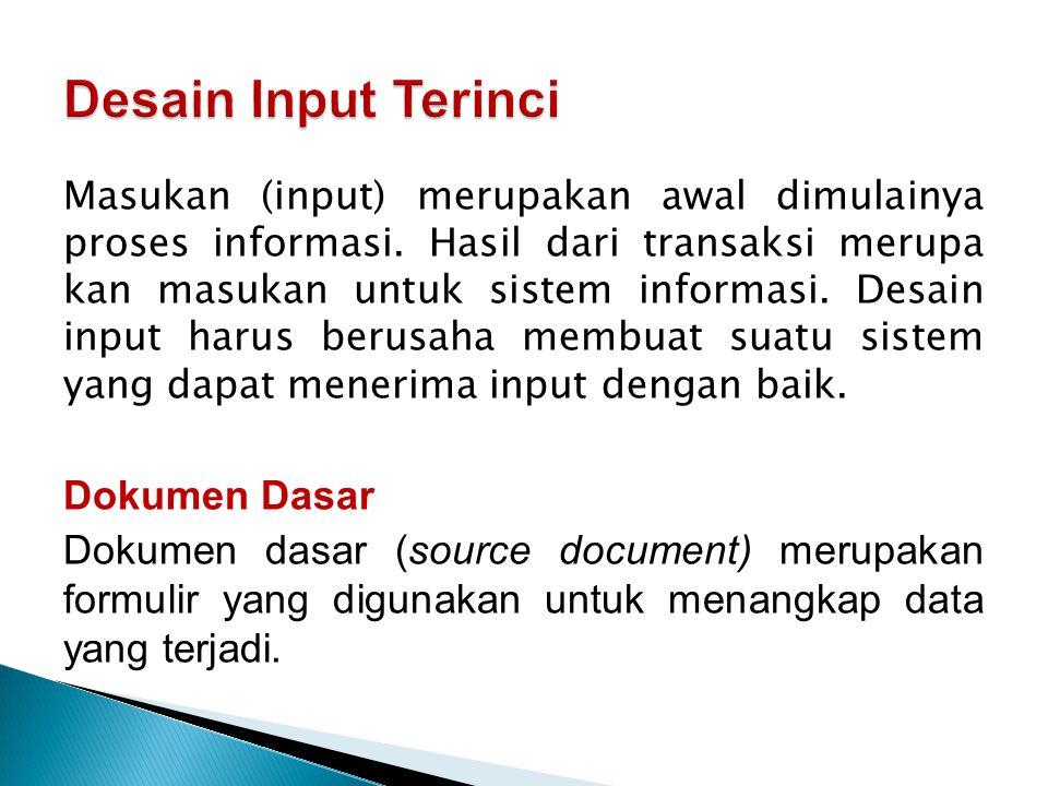 Desain Input Terinci Dokumen Dasar