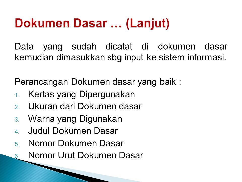Dokumen Dasar … (Lanjut)