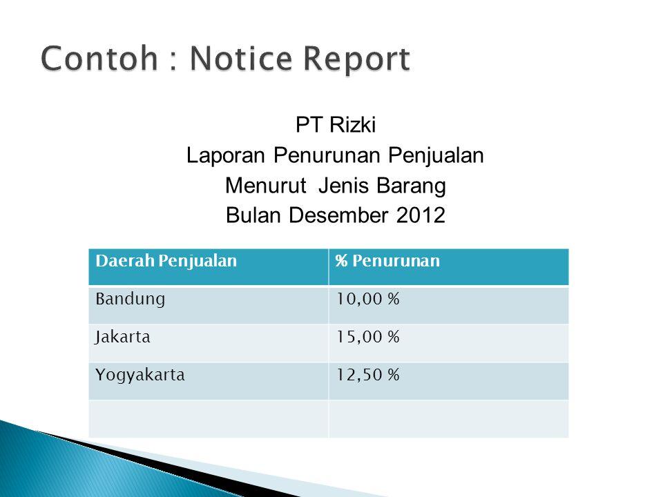 Contoh : Notice Report PT Rizki Laporan Penurunan Penjualan Menurut Jenis Barang Bulan Desember 2012