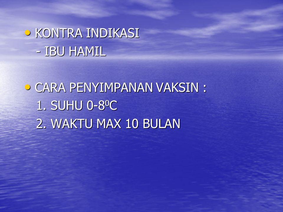 KONTRA INDIKASI - IBU HAMIL CARA PENYIMPANAN VAKSIN : 1. SUHU 0-80C 2. WAKTU MAX 10 BULAN