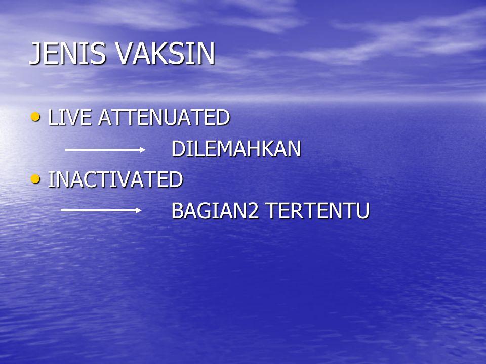 JENIS VAKSIN LIVE ATTENUATED DILEMAHKAN INACTIVATED BAGIAN2 TERTENTU