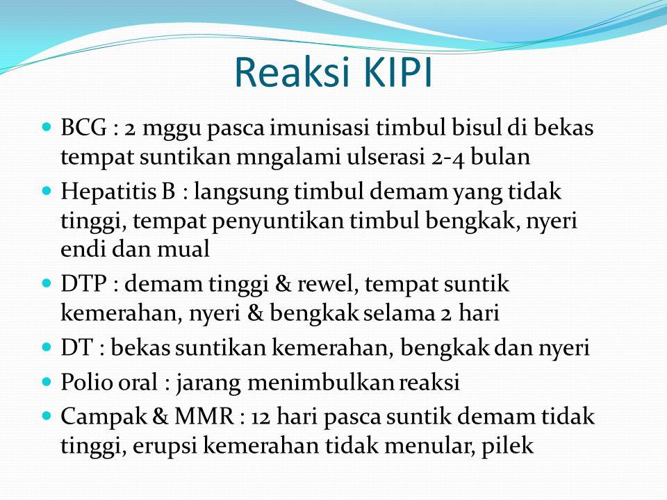 Reaksi KIPI BCG : 2 mggu pasca imunisasi timbul bisul di bekas tempat suntikan mngalami ulserasi 2-4 bulan.