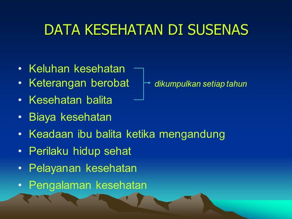 DATA KESEHATAN DI SUSENAS