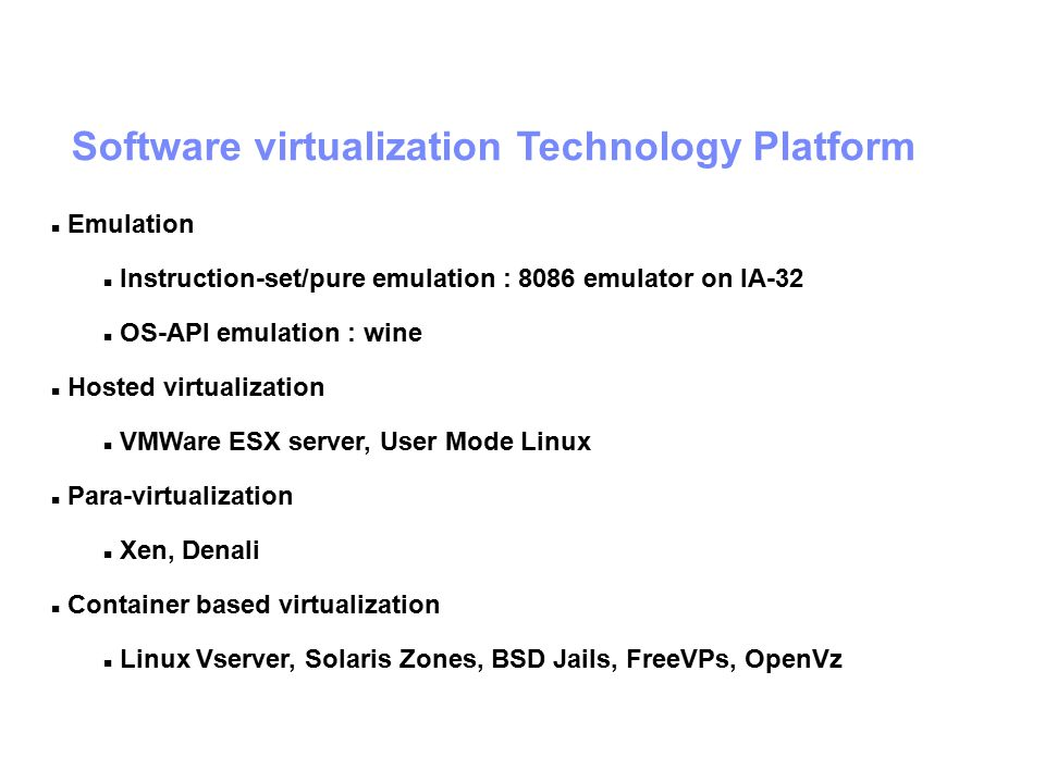 Software virtualization Technology Platform