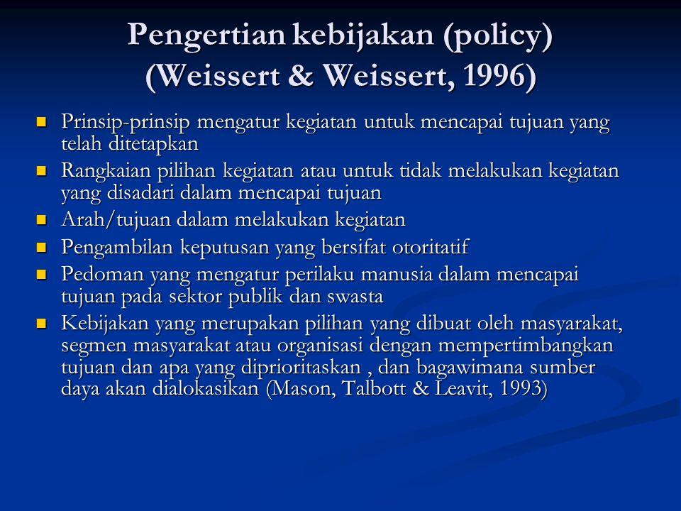 Pengertian kebijakan (policy) (Weissert & Weissert, 1996)
