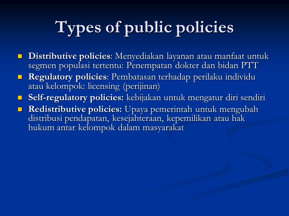 Types of public policies