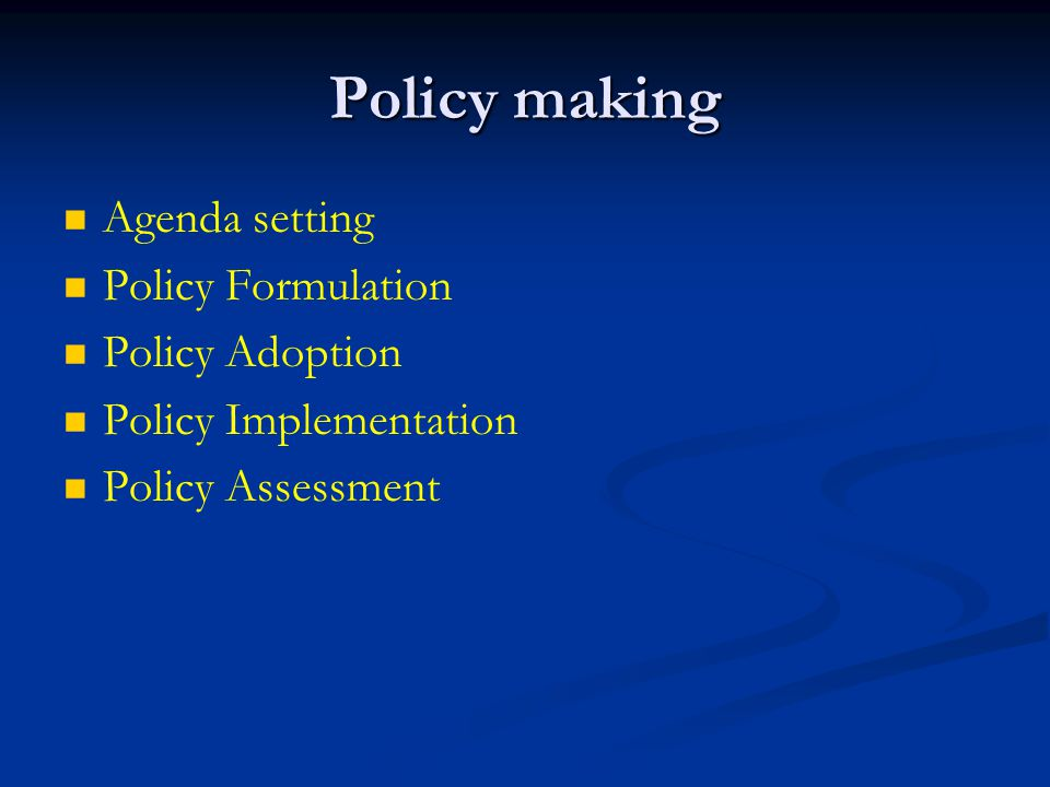 Policy making Agenda setting Policy Formulation Policy Adoption