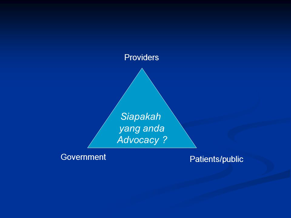 Providers Siapakah yang anda Advocacy Government Patients/public