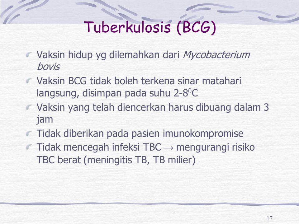 Tuberkulosis (BCG) Vaksin hidup yg dilemahkan dari Mycobacterium bovis