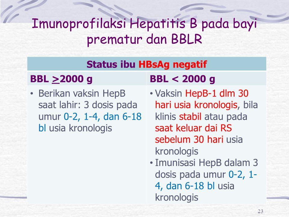 Imunoprofilaksi Hepatitis B pada bayi prematur dan BBLR