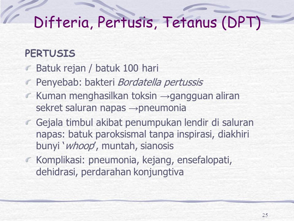Difteria, Pertusis, Tetanus (DPT)