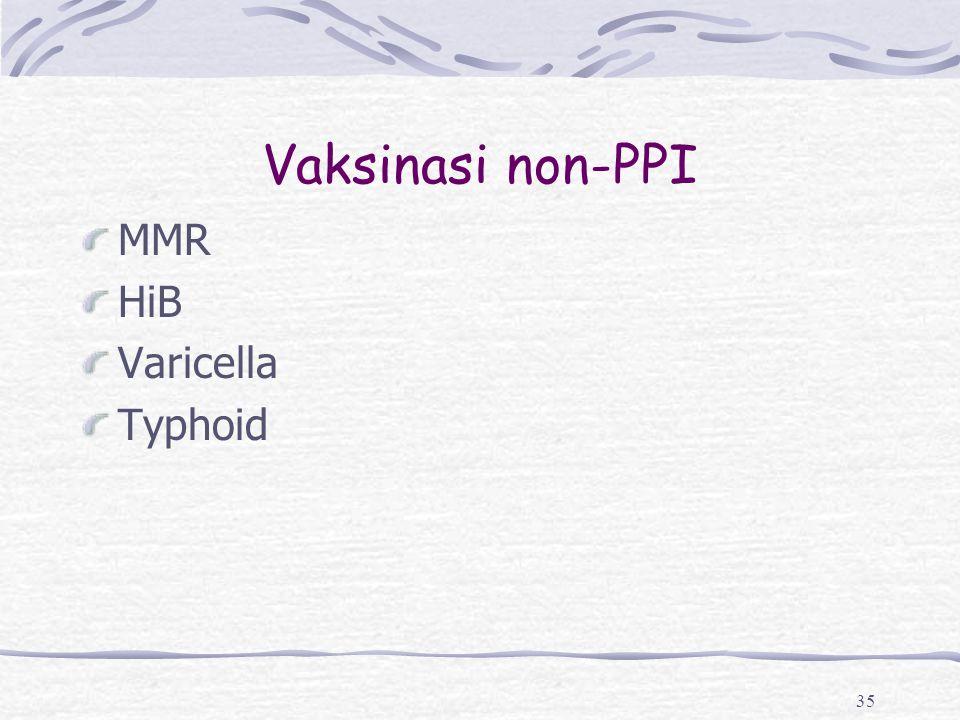 Vaksinasi non-PPI MMR HiB Varicella Typhoid