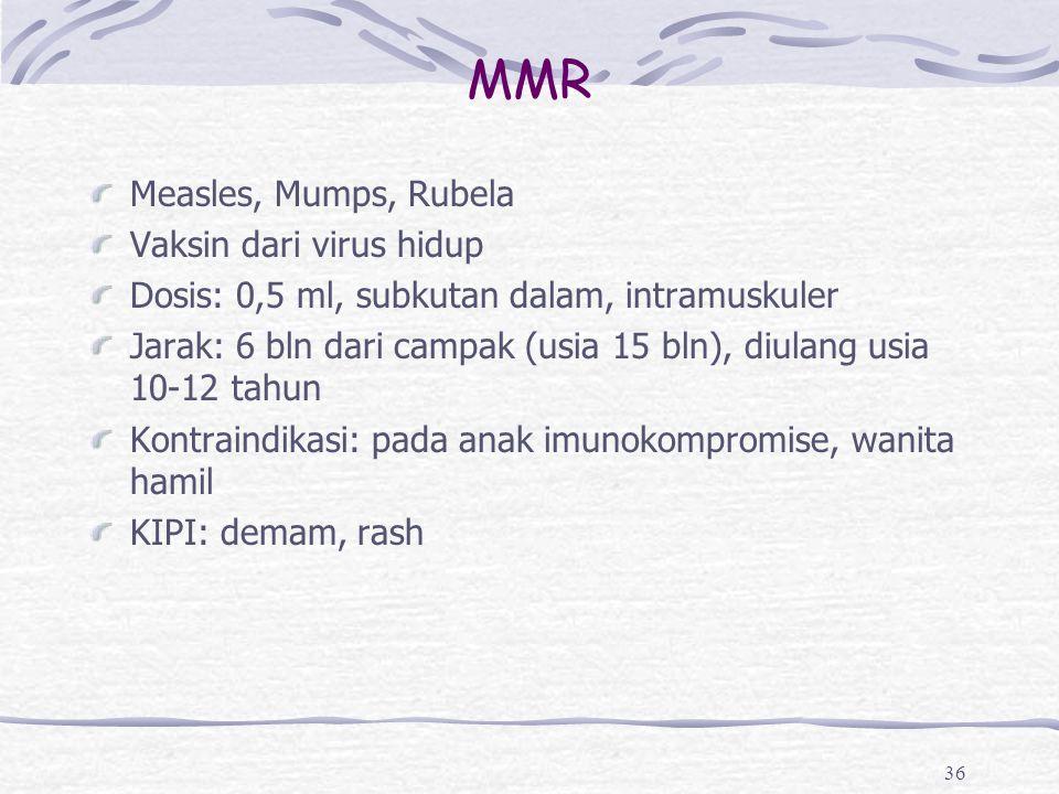MMR Measles, Mumps, Rubela Vaksin dari virus hidup