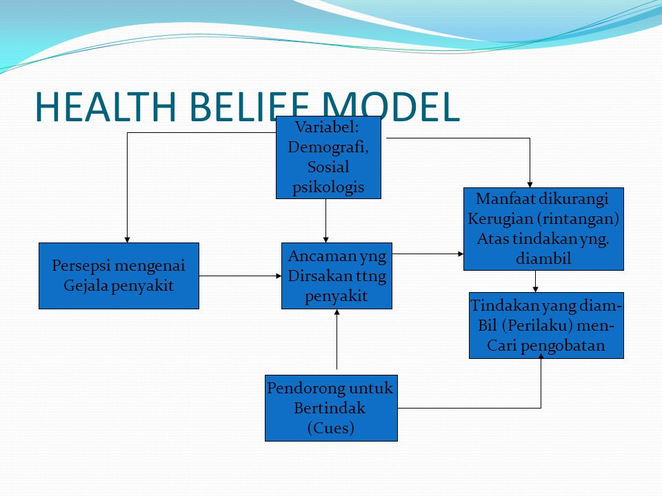 HEALTH BELIEF MODEL Variabel: Demografi, Sosial psikologis