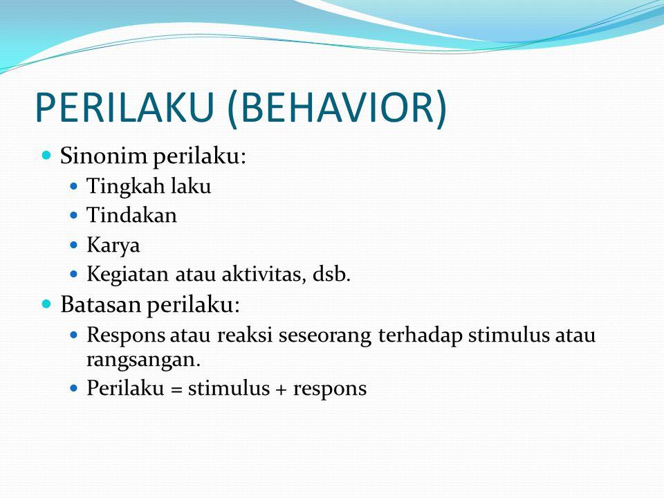 PERILAKU (BEHAVIOR) Sinonim perilaku: Batasan perilaku: Tingkah laku