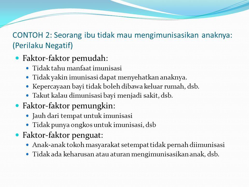 CONTOH 2: Seorang ibu tidak mau mengimunisasikan anaknya: (Perilaku Negatif)