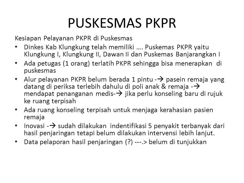 PUSKESMAS PKPR Kesiapan Pelayanan PKPR di Puskesmas