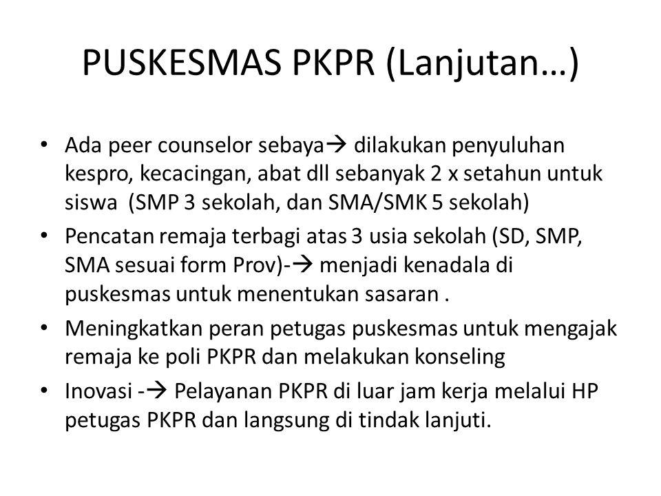 PUSKESMAS PKPR (Lanjutan…)