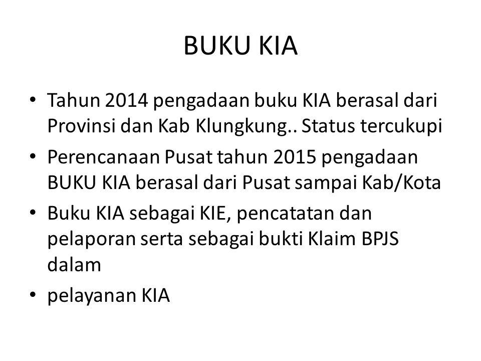 BUKU KIA Tahun 2014 pengadaan buku KIA berasal dari Provinsi dan Kab Klungkung.. Status tercukupi.