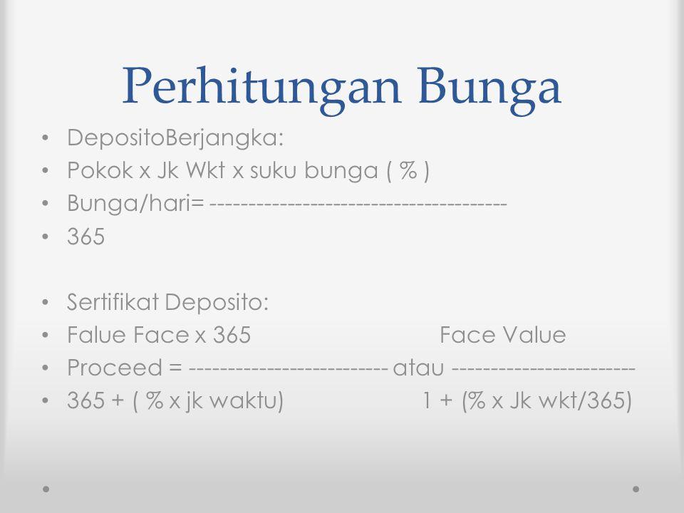 Perhitungan Bunga DepositoBerjangka: Pokok x Jk Wkt x suku bunga ( % )