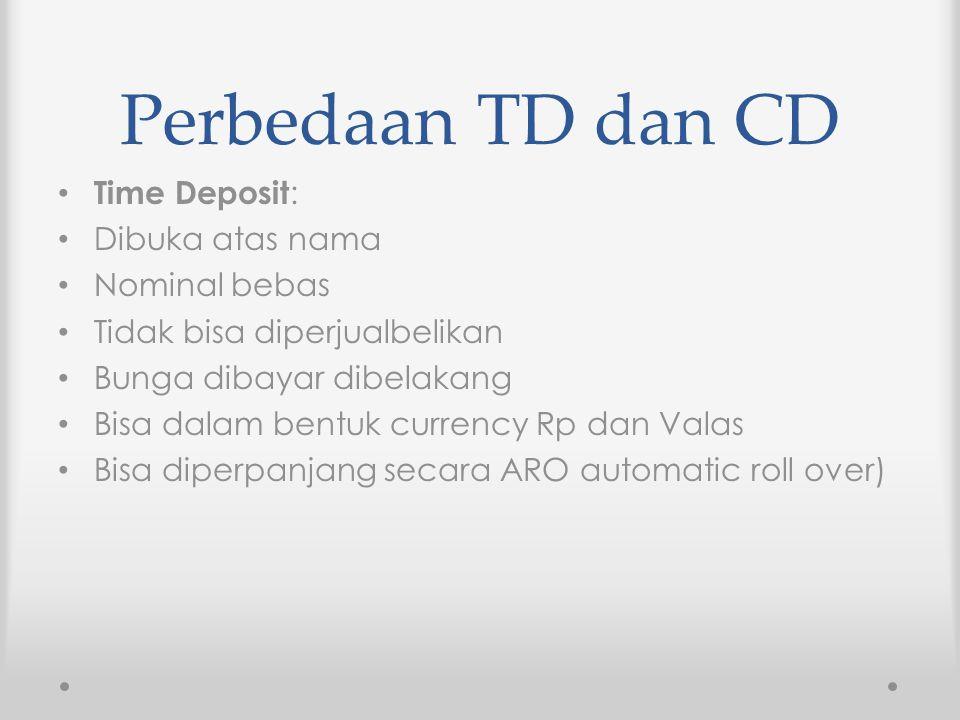 Perbedaan TD dan CD Time Deposit: Dibuka atas nama Nominal bebas