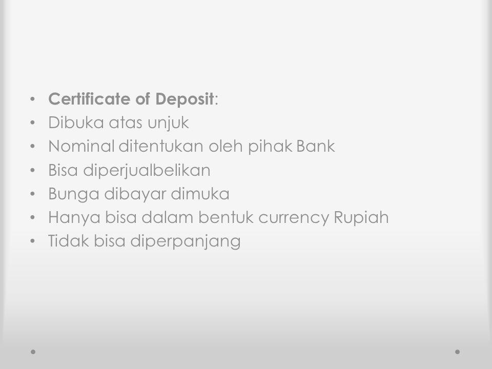 Certificate of Deposit:
