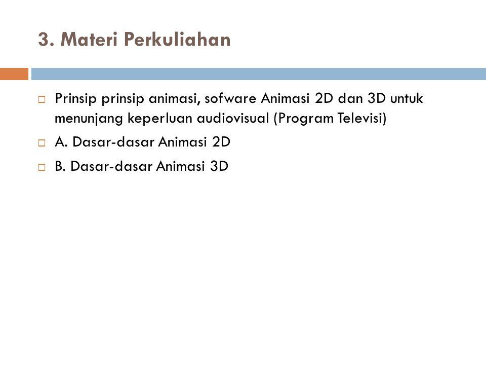 3. Materi Perkuliahan Prinsip prinsip animasi, sofware Animasi 2D dan 3D untuk menunjang keperluan audiovisual (Program Televisi)
