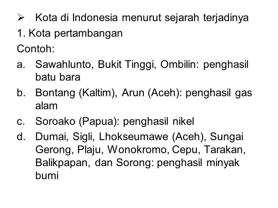 Kota di Indonesia menurut sejarah terjadinya