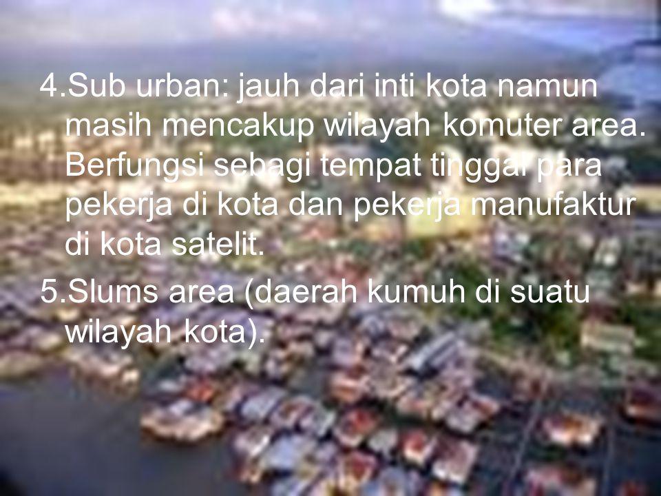 4.Sub urban: jauh dari inti kota namun masih mencakup wilayah komuter area. Berfungsi sebagi tempat tinggal para pekerja di kota dan pekerja manufaktur di kota satelit.