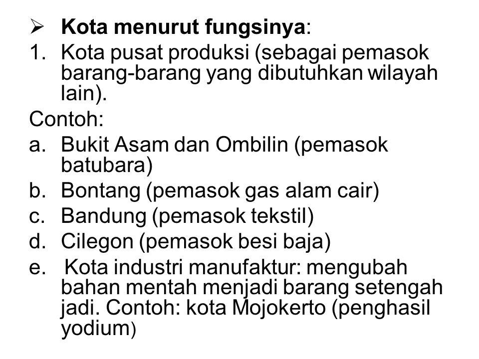 Kota menurut fungsinya: