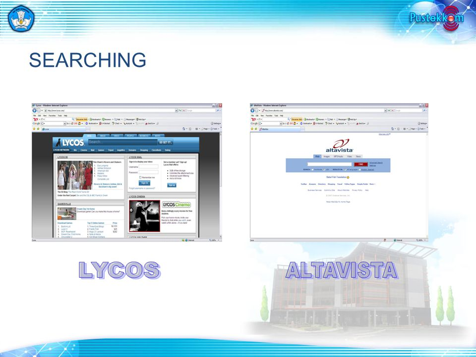 SEARCHING LYCOS ALTAVISTA