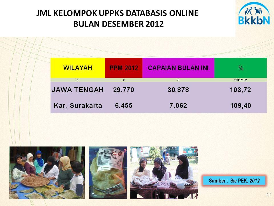 JML KELOMPOK UPPKS DATABASIS ONLINE BULAN DESEMBER 2012