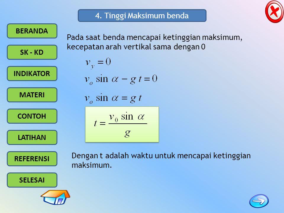 4. Tinggi Maksimum benda Pada saat benda mencapai ketinggian maksimum, kecepatan arah vertikal sama dengan 0.