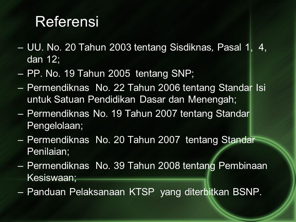 Referensi UU. No. 20 Tahun 2003 tentang Sisdiknas, Pasal 1, 4, dan 12;