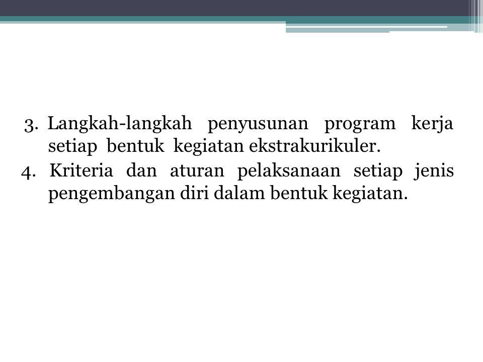 3. Langkah-langkah penyusunan program kerja setiap bentuk kegiatan ekstrakurikuler.